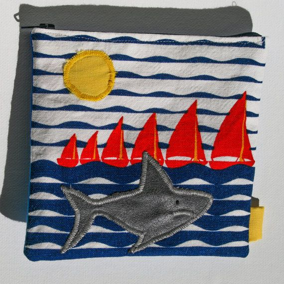 Cute Shark and ships Zipper Pouch, Handmade in Norway, Quality Crafts, Make-up bag, Wallet