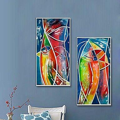 Abstracte Kunst Mooie Kleuren Schilderijen Stijl Ingelijste doek Set van 2 1613987 2016 – €87.21