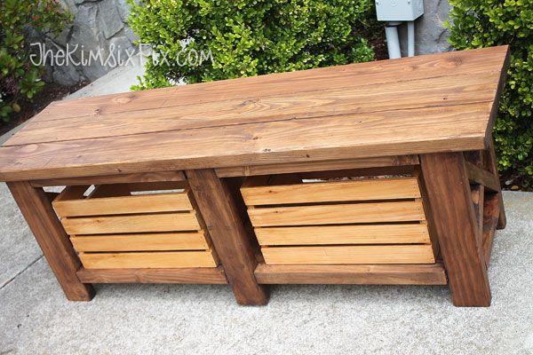 X-Leg Wooden Bench with Crate Storage for Under $40via TheKimSixFix.com