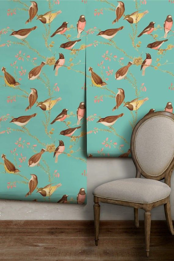 Etsy Bird Chinoiserie Wallpaper Peel N Stick Wallpaper Chinoiserie Wallpaper Wallpaper