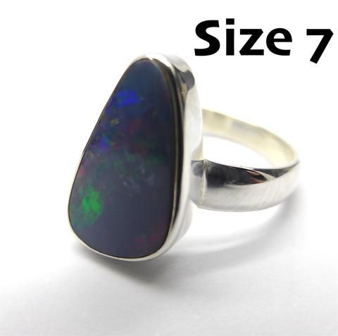Opal Doublet Ring | 925 Sterling Silver | Freeform Stone | Crystal Heart Melbourne Australia since 1986