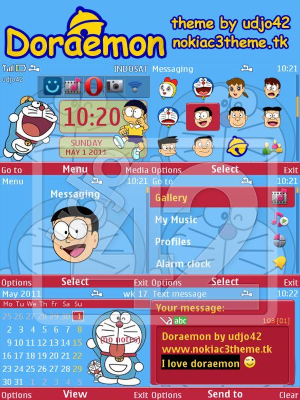 Doraemon Handphone Hd Wallpaper Doraemon Nokia C3 Theme