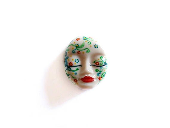 Painted Cabochon Hand Painted Face Painted Cabochon Face