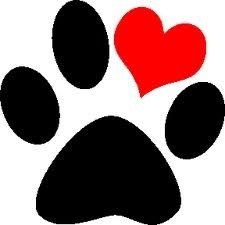 Paw print with heart
