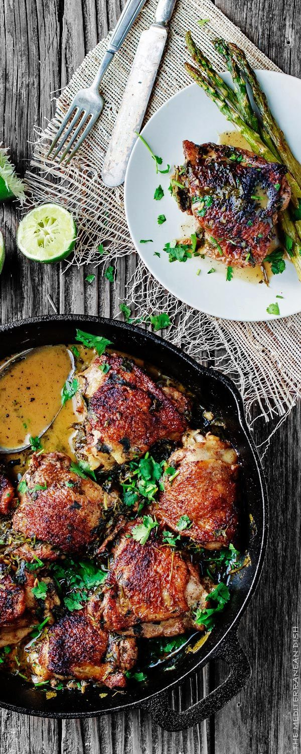 Cilantro-Lime Chicken Thighs Recipe. A great Mediterranean recipe for perfectly flavored, fall-off-the bone tender chicken! This will win your family's heart at the first bite. Check out the step-by-step tutorial from The Mediterranean Dish.