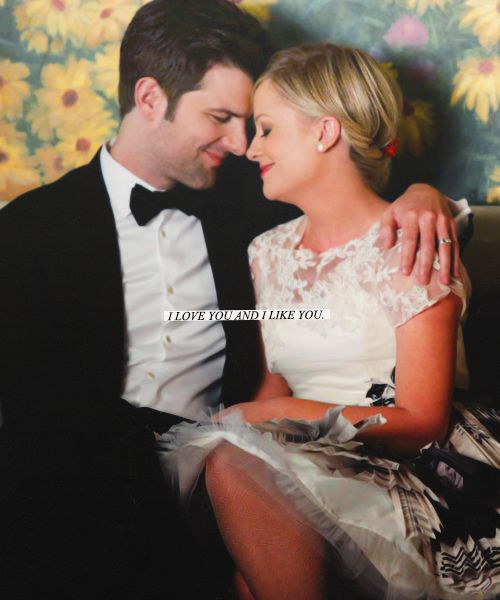 "Ben Wyatt and Leslie Knope: ""I love you and I like you."" #ParksandRec"