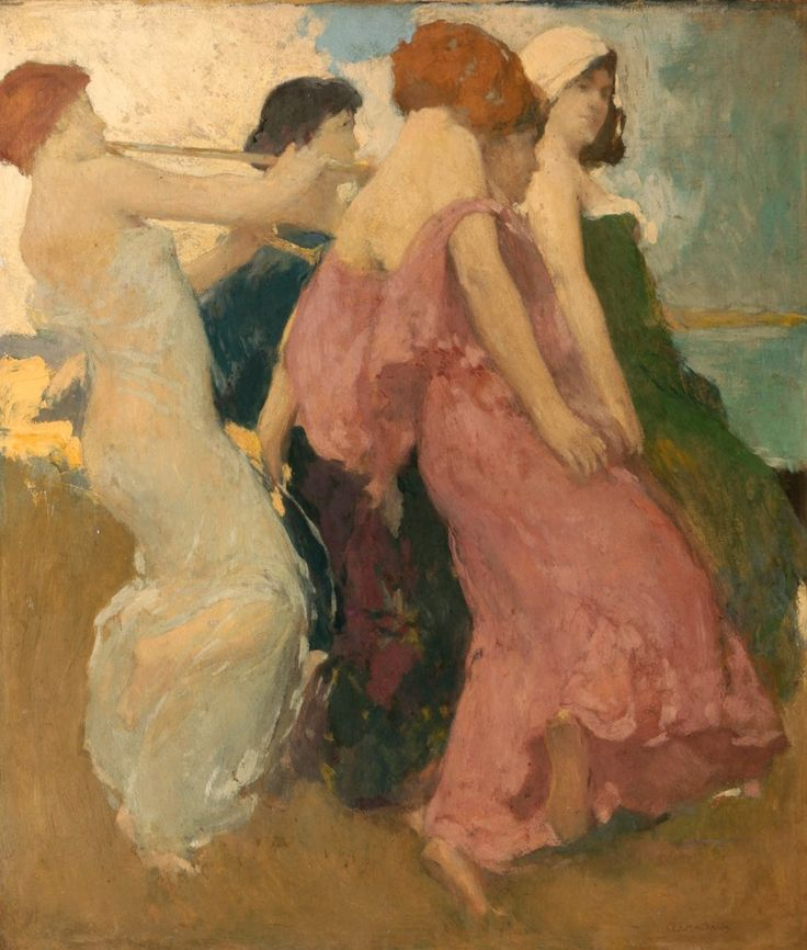 The Dancers, Arthur Frank Mathews (1869-1945), oil on board, City of Monterey deHaven/Jacks Collection