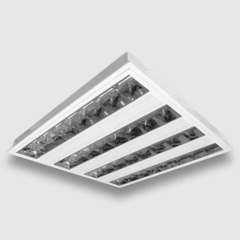 Oprawa rastrowa 4x14W T5 EVG natynkowa. produkt wyposażony w stateczniki elektroniczne , zapewnia dłuższą trwałość stosowanych świetlówek T5 . Polecamy jako źródła światła świetlówki firmy Osram .  Dane techniczne : kolor - Biały w komplecie - układ zapłonowy moc źródła światła - 56W ( brak w komplecie ) trzonek - T5 napięcie - 230V wysokość - 52mm szerokość - 595mm długość - 595mm $65