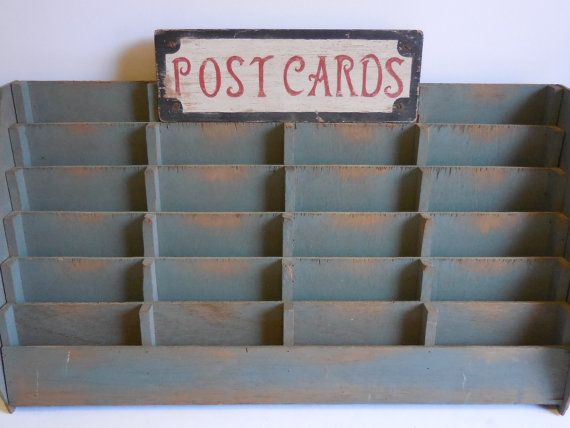 Vintage Postcard Display rack Card shelves Slots by SalvageRelics
