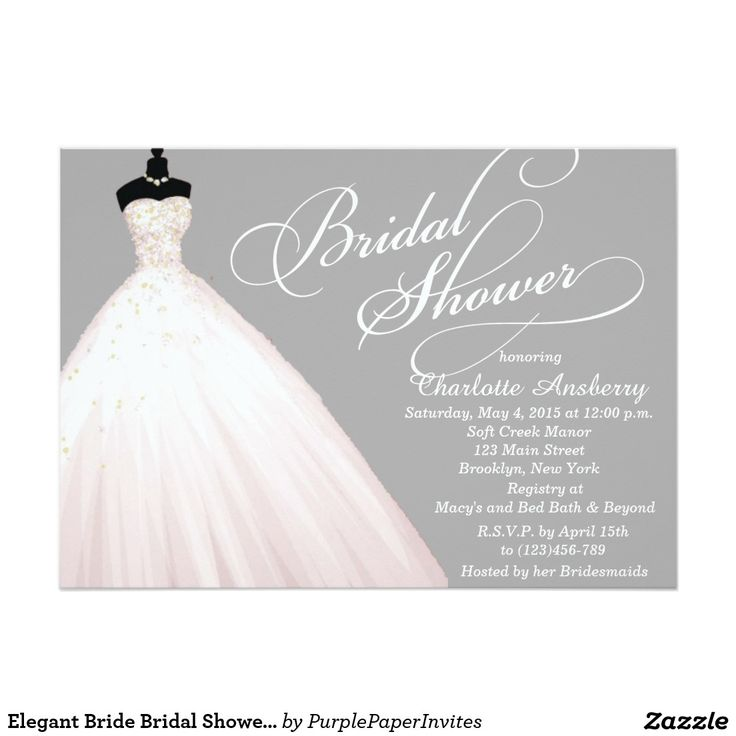 pink black and white bridal shower invitations%0A Elegant Bride Bridal Shower Invitation