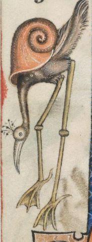 Snail stork. @BLMedieval Add MS 42130, f. 171v http://www.bl.uk/manuscripts/Viewer.aspx?ref=add_ms_42130_fs001ar…