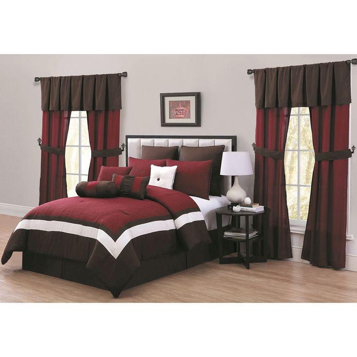 Queen Burgundy Red Comforter Set Block Color Design Spot Clean Modern Look Fancy Bedding Solid Pattern Microfiber Polyester Transitional Rose
