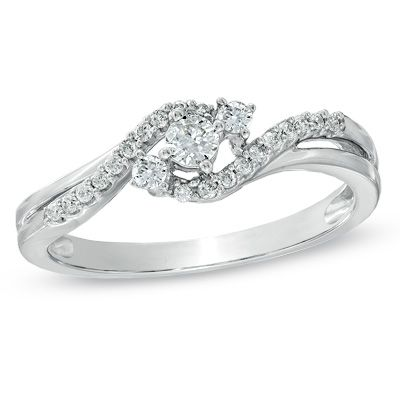 Zales 1/15 CT. T.w. Composite Diamond Criss-Cross Engagement Ring in 10K White Gold