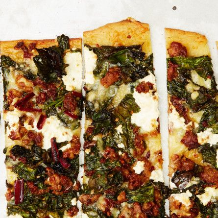 Hot Sausage and Crispy Chard Pizza Recipe http://www.bonappetit.com/recipe/hot-sausage-and-crispy-chard-pizza