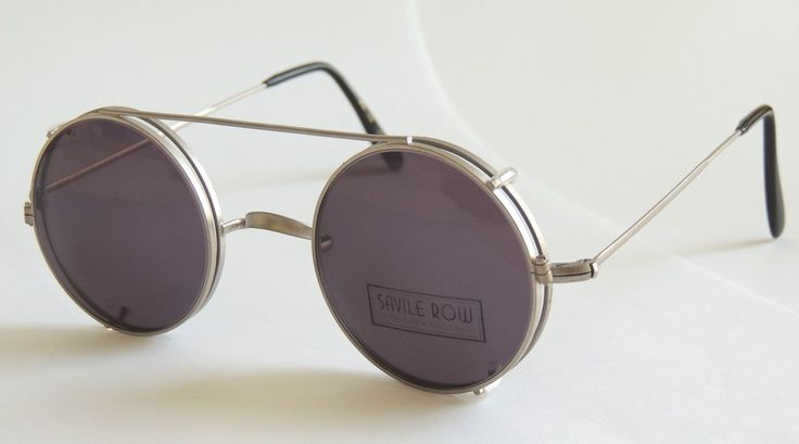 The Old Glasses Shop - HAND MADE TO ORDER IN LONDON Perfectly Round Savile Row CLIP-ON sunglasses, $148.05 (http://www.theoldglassesshop.co.uk/hand-made-to-order-in-london-perfectly-round-savile-row-clip-on-sunglasses/)