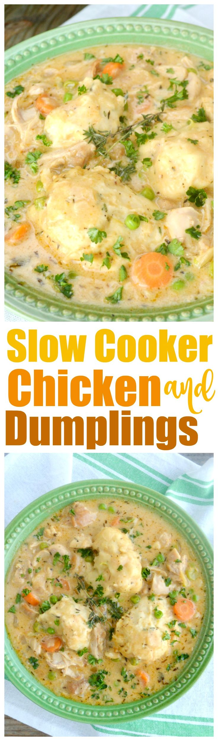 Slow Cooker Chicken and Dumplings~Thick, rich, velvety stew loaded with chicken and veggies all topped with yummy dumplings!  All made from scratch in your crock pot!