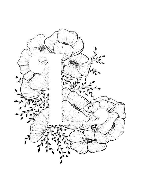 Imprimir letra L - alfabeto, caligrafía, tipografía, monograma, flores - impresión de arte de tinta blanco y negro