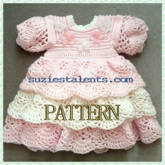 PATTERN PT014 Crochet Baby Layers Dress Baby by PatternsDesigner