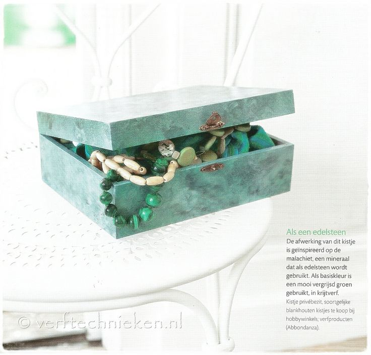 #verftechnieken #malachite ♥ Kistje geïnspireerd op Malachiet