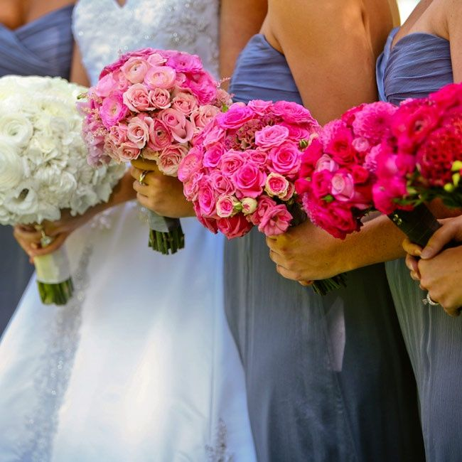 Each Bouquet Is A Progressing Shade Bridal White To Deeper Shades Of Pink On