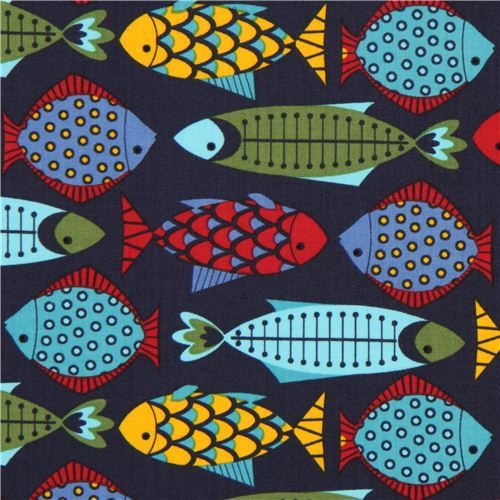 navy blue Timeless Treasures animal fabric colourful fish 1
