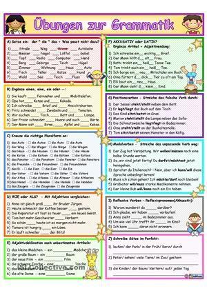 Arbeitsblatt/ Grammatik<br /> mit 10 Aufgaben<br /> - Artikel + Wortschatzübung<br /> - einen, eine, ein oder ---?<br /> - Pluralformen<br /> - Vergleiche: WIE oder ALS?<br /> - Adjektive Deklination/ unbest.Artikel<br /> - Akkusativ oder Dativ? Artikel + Adjektivendungen<br /> - Aktions- und Positionsverben<br /> - Modalverben<br /> - Reflexive Verben/ Reflexivpronomen<br /> - Satzbau/ Perfekt<br /> Umfang: 3 Seiten (Farbe + SW + Lö)<br /> <br /> <br /> Viel Freude damit! Lieben Dank…