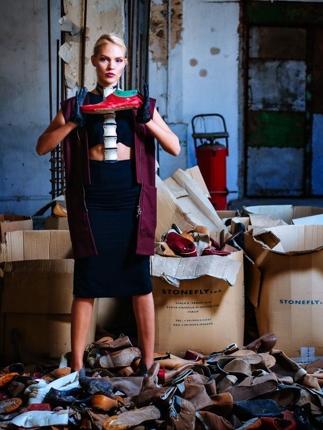 Fashion editorial | abandoned old shoes factory