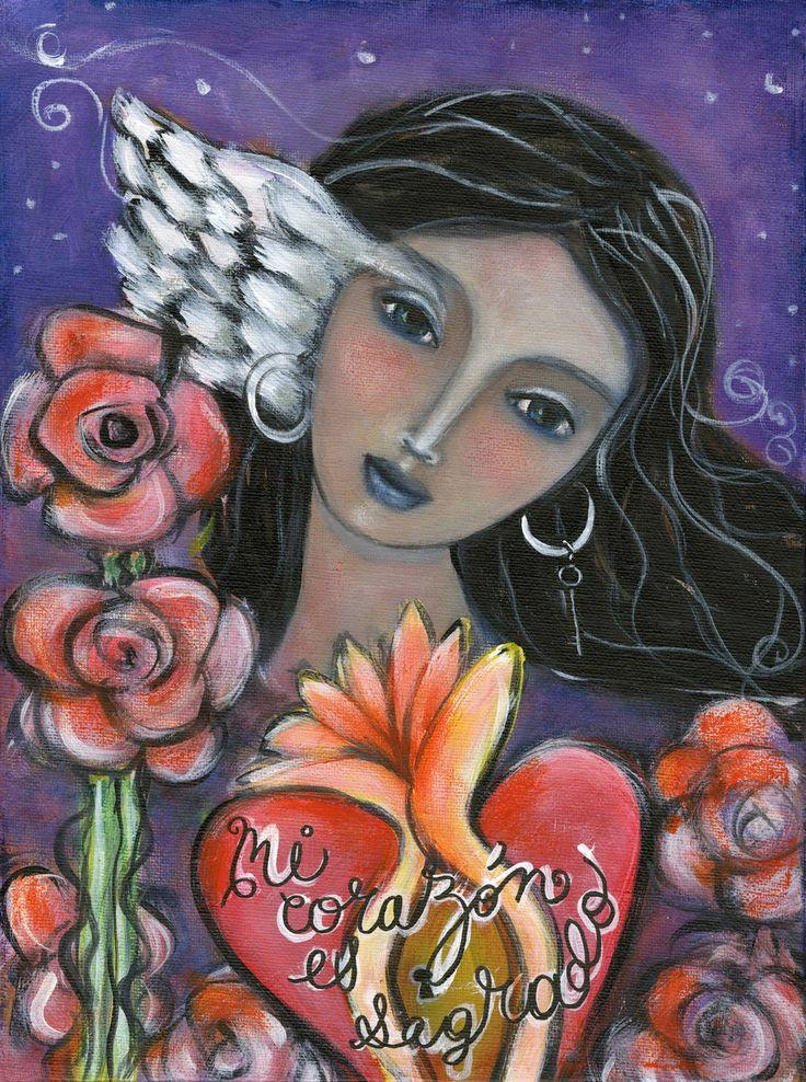 Inspirational gift for her- I am Sacred - Sacred Art - Healing Art - Inspirational Gifts for women - Inspirational Gift for girls by OlivosARTstudio on Etsy