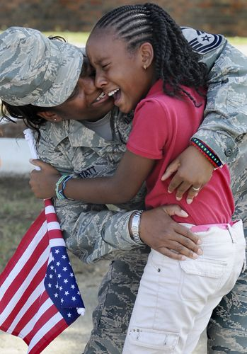 Happy tears for mom  --- Our women in uniform protecting us.  So glad she and so many other are home!!!!!!!!!!!!!