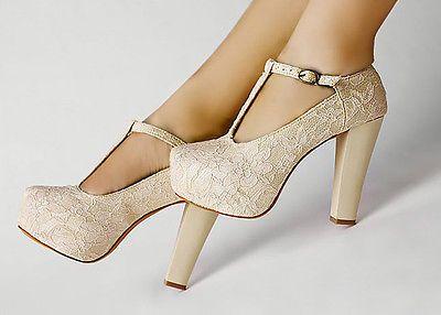 Marfil Encaje Flor T-Strap plataforma De Baile De Tacón Alto Zapatos Mujer