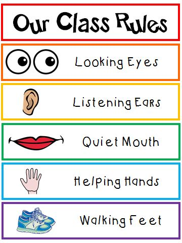 Our Class Rules poster that any Kindergarten student, pre-K student, Transitional Kindergarten student can all read! {FREEBIE}
