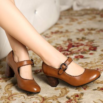 Black Brown Vintage Mori Girl Sapatos Femininos Ladies Chunky High Heel Mary Jane Pumps Women Genuine Leather Shoes 2013