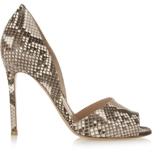 GIANVITO ROSSI   Python sandals ($615) ❤ liked on Polyvore featuring shoes, sandals, white slip on shoes, gray sandals, high heels sandals, grey high heel sandals and high heel shoes