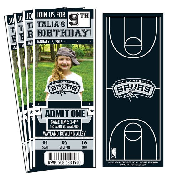 12 San Antonio Spurs Custom Birthday Party Ticket Invitations with Photo - Officially Licensed by NBA