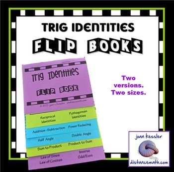"""Trig Identities and Formulas Flip Books. Foldable, easy, and your students will love this.Two great new resources for your Calculus and Trig students. This product includes two different foldable Flip Books.  The first is a small, handy Flip Book, 3 3/4"""" by 51/4""""."""