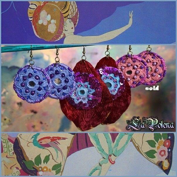 Purple crochet lace mirror earrings