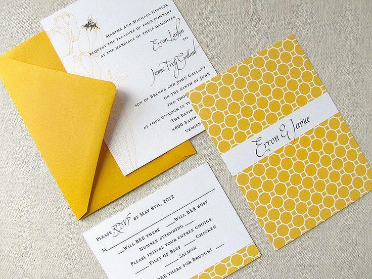 Bee Invited- Bee and Honey Themed Wedding Invitation - Vintage & Modern. $4.00, via Etsy. www.lassodmoon.etsy.com