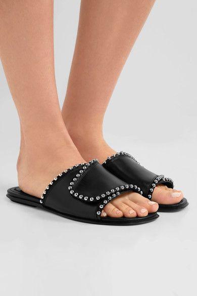 Alexander Wang - Leidy Studded Leather Slides - Black