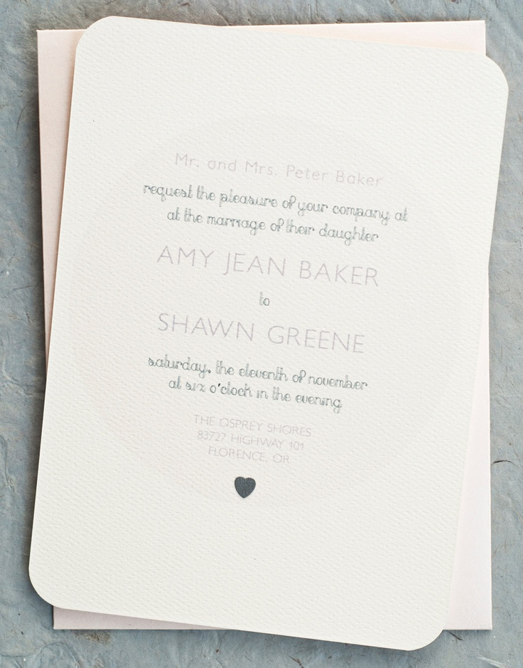 Vintage Minimalist Wedding Invitation Cards in Soft Pink. $2.75, via Etsy.