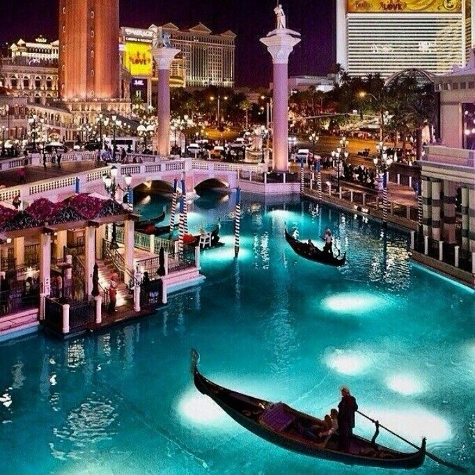 The Las Vegas Strip. In the Venitian the Gondolas sail through the Canals....three floors up!