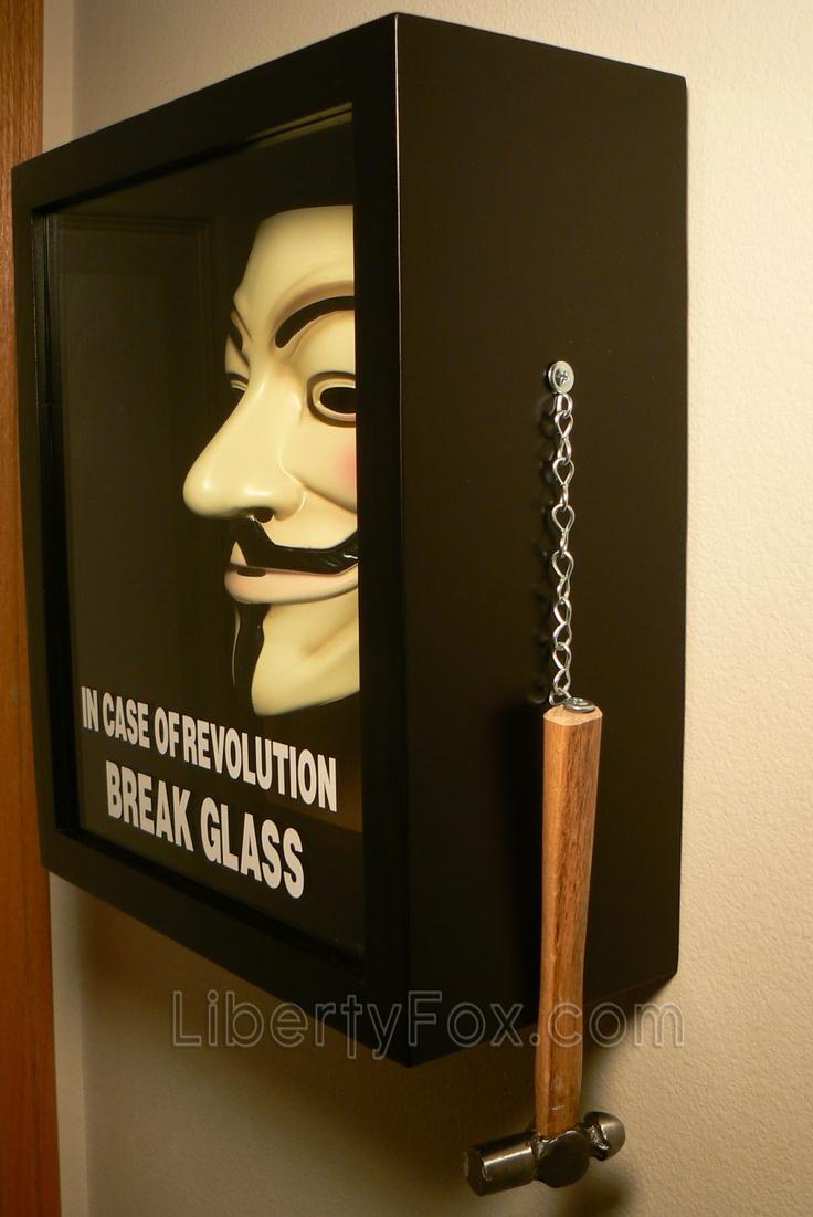 In Case of Revolution Break Glass (V for Vendetta) Anonymous Mask Shadow Box. $129,99, via Etsy.