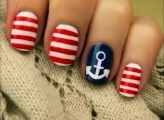 Anchor nail-artAnchors, Nails Art, Nails Design, Fourth Of July, Nailsart, Sailors Nails, Summer Nails, 4Th Of July, Nautical Nails