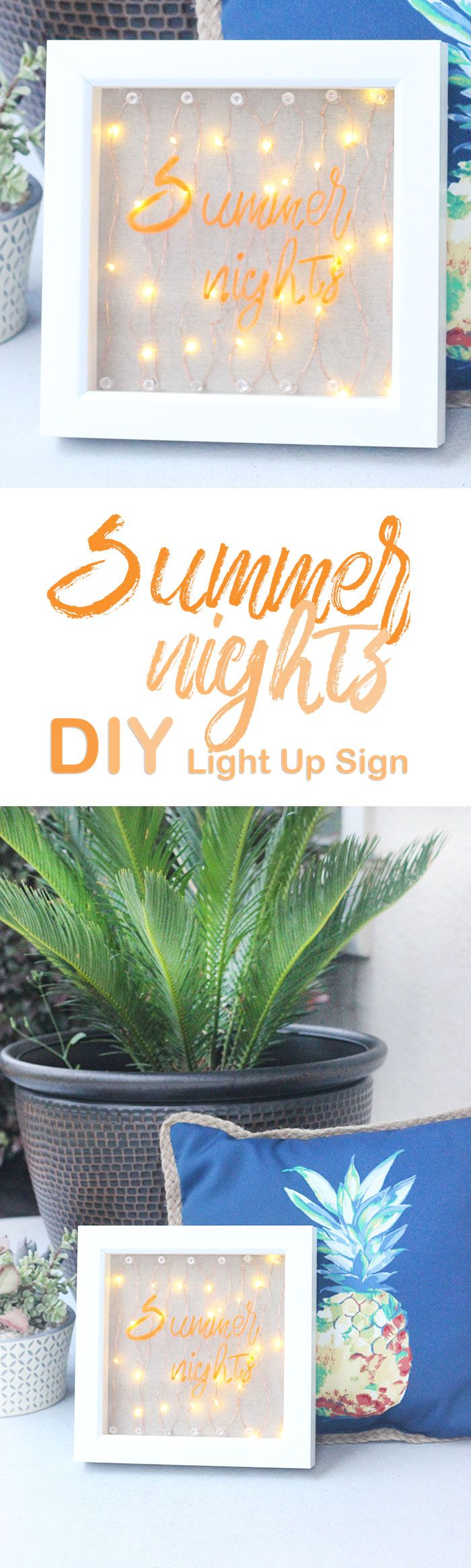 "Light Up Sign DIY. ""Summer Nights"". So easy to make with LED battery lights. #ad #MadetoLastWM"