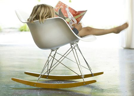 I so definitly need a lime one of those Eames rocker chair for a next future baby !