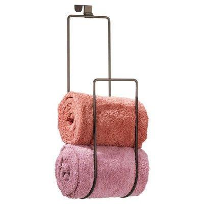 Over the Door Towel Holder for Bathroom Shower Door - Bronze - InterDesign