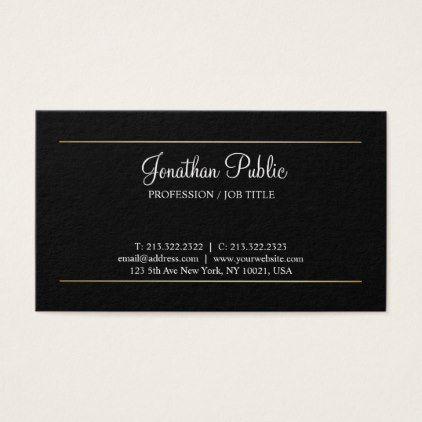 Create Your Own Simple Plain Modern Elegant Black Business Card - professional gifts custom personal diy
