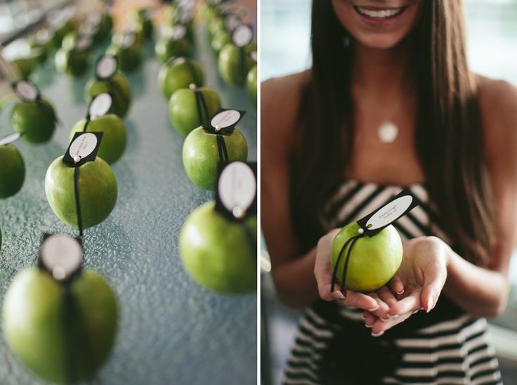 green apples for place cards, jordanquinn photography, seattle wedding photographer
