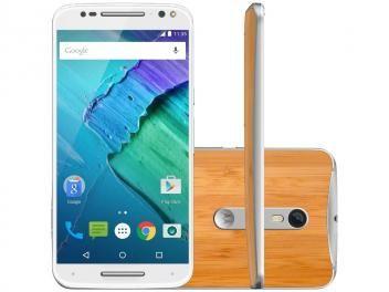 Smartphone Motorola Moto X Style 32GB - Branco e Bambu Dual Chip 4G Câm. 21MP + Selfie 5MP