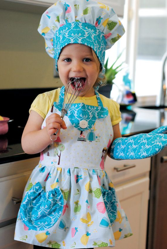 Kids Apron, Chef Hat, Oven Mitt, Cooking, Princess, Pretend Play, Girls Dress Up Kitchen Accessories, Riley Blake Happy Ever After Size 2-8