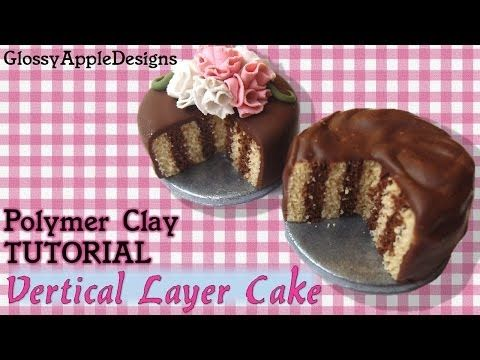 Miniature Polymer Clay Chocolate and Strawberries Cake Tutorial - YouTube